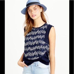 J. Crew Contrast Paneled Shell Top Navy Blue Geo